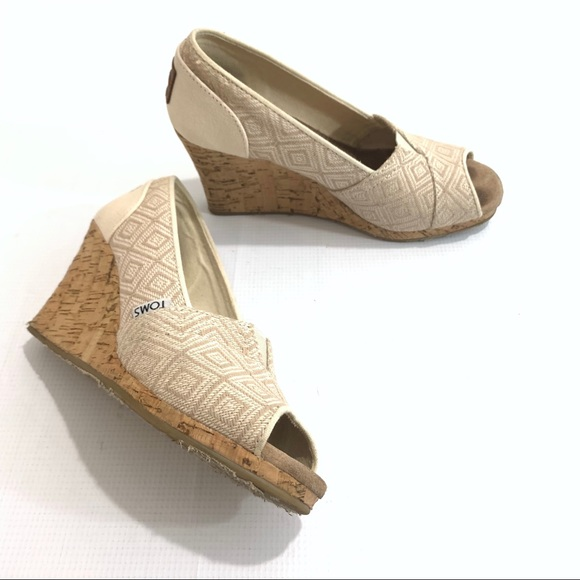 b5bff133d0 Toms Shoes | 381114 Tan Canvas Cork Wedge Sandals Open Toe | Poshmark